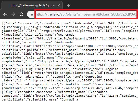 Trefle API query plants database