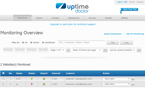 Uptime Doctor free Pingdom alternative