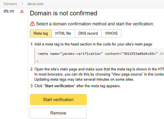Yandex domain verification