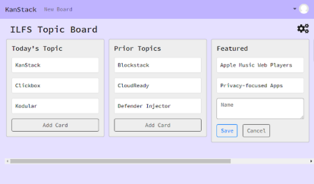 blockchain-based decentralized kanban board - board preview