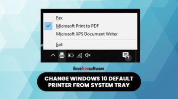 change default printer from system tray in windows 10