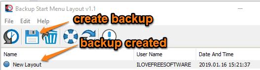 create start menu layout backup