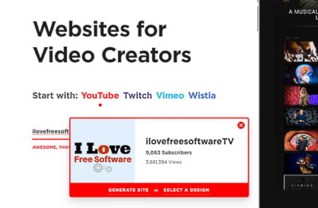 create website from YouTube channel