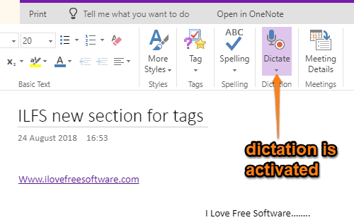 dicatation is activated in onenote online