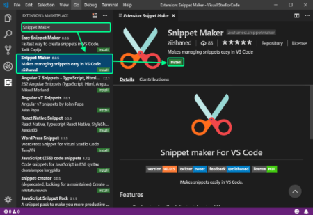 generate code snippets in VS Code