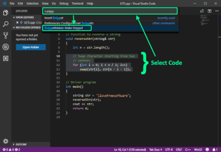 create code snippets in VS Code