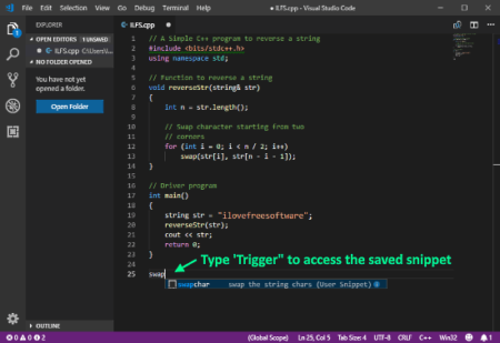 code snippets in VS Code