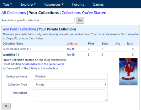 manage your watched movies list online for free