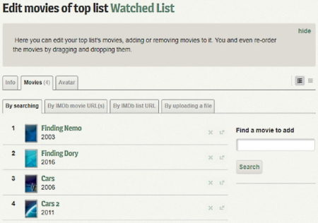 manage movies in different lists, share with others