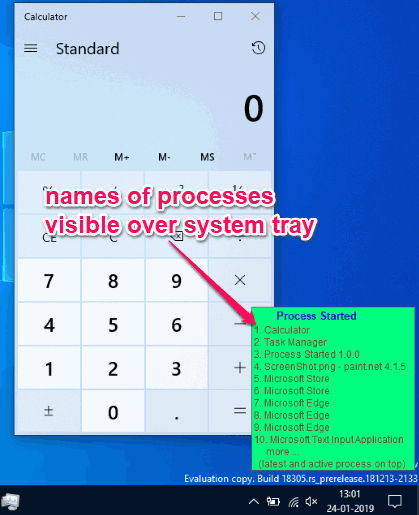 names of processes visible over system tray