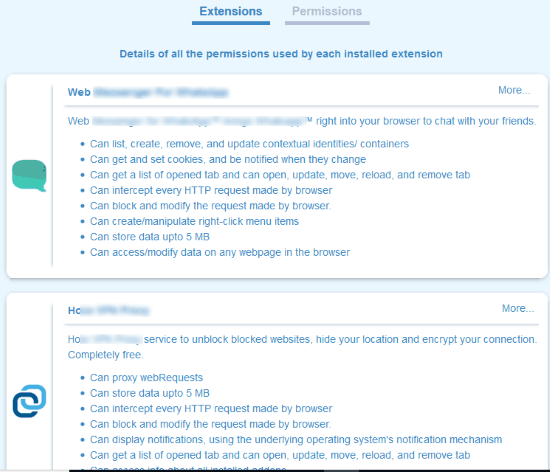 permissions required by installed add-ons visible