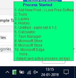 pop up menu showing process name