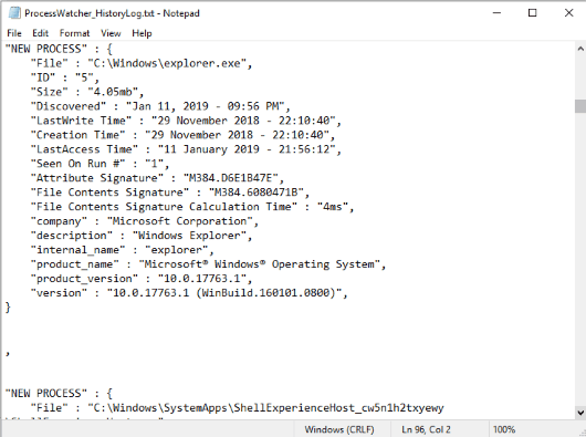 process log created automatically