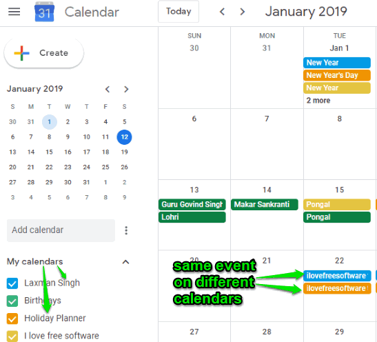 same event on different google calendars