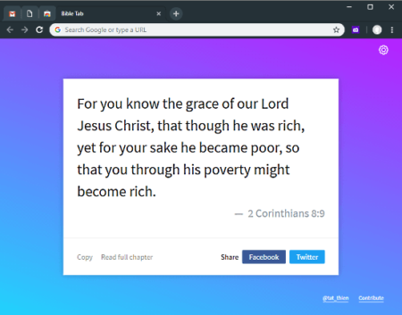 Bible verses in new tab in Chrome