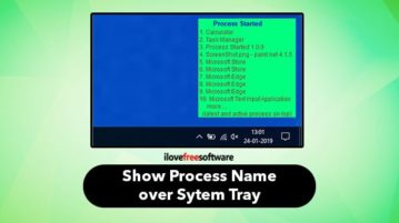 see process name over system tray when a process started