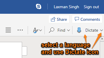 select language and use dictate icon