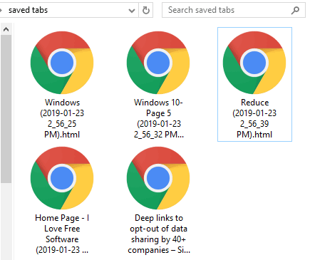 tabs saved as html files