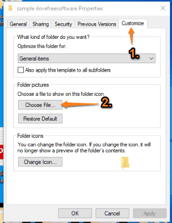 use choose file button in customize tab