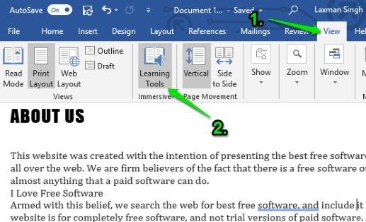 use learning tools option in view tab