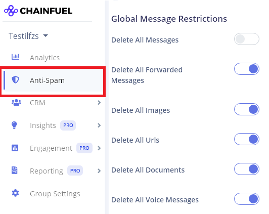 Anti spamming options on chainfuel
