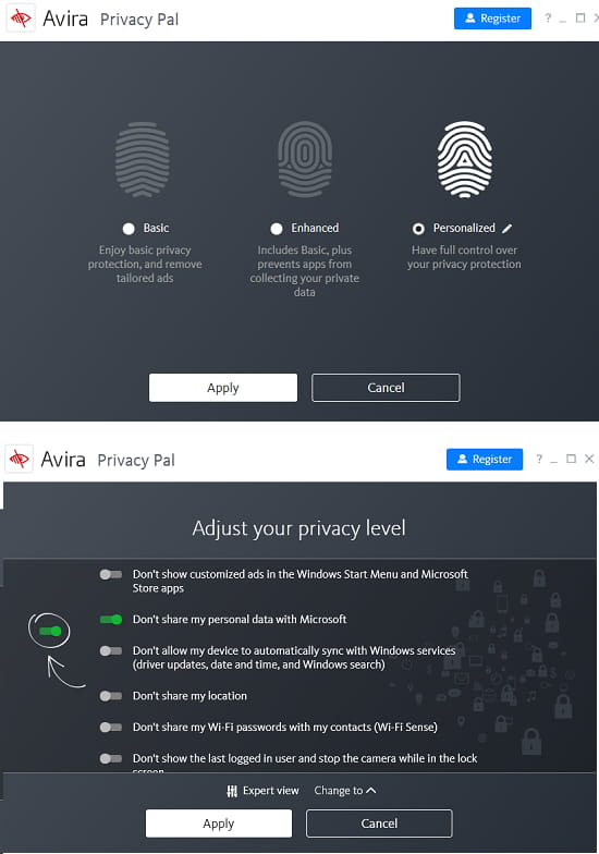 Avira Privacy Pal privacy level mode