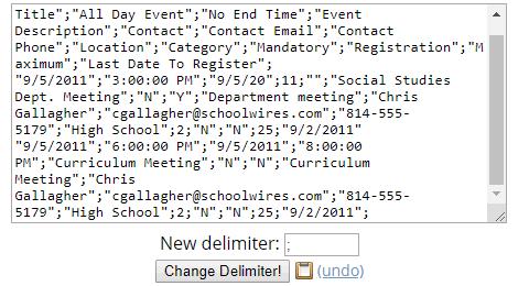 Browserling website change csv delimiter