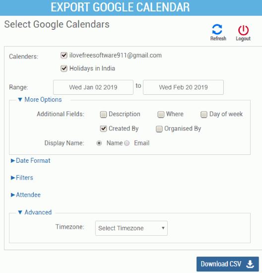 CalendarLabs export google calendar as csv
