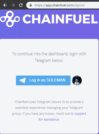 Chainfuel login with Telegram