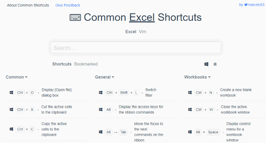 Common Excel Shortcuts