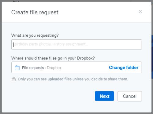 Create file request to Non-Dropbox users
