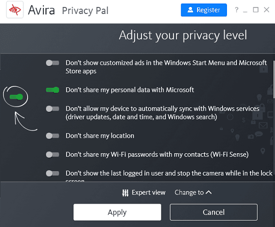 Disable Windows 10 Tracking with Avira Privacy Pal Free