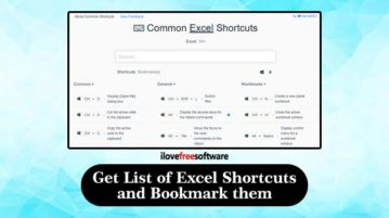 Get list of excel shortcuts and bookmark them