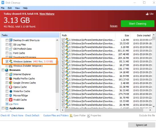 Glary Utilities Disk Cleanup