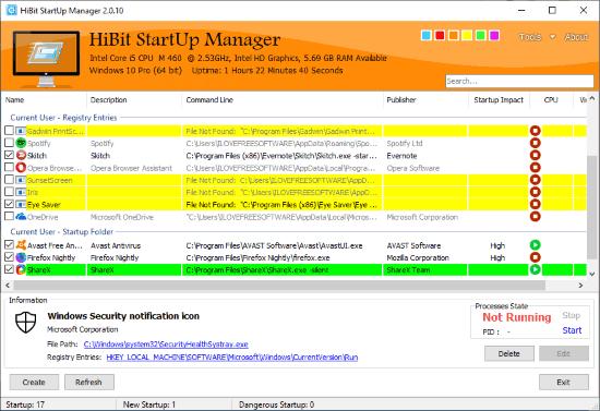 HiBit Startup Manager - Interface