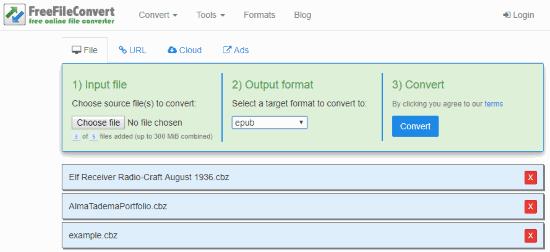 Online CBZ to EPUB converter