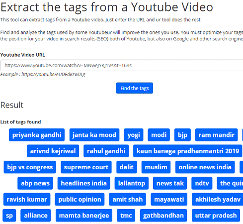 Online Free Tools youtube tags extractor