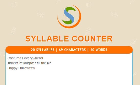 Online haiku syllable counter