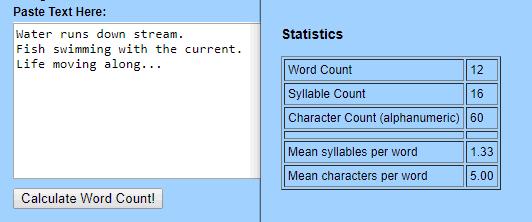 Online haiku syllable counter