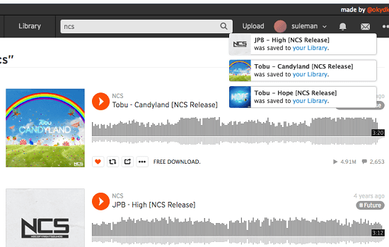 SoundCloud Desktop for MBP in action