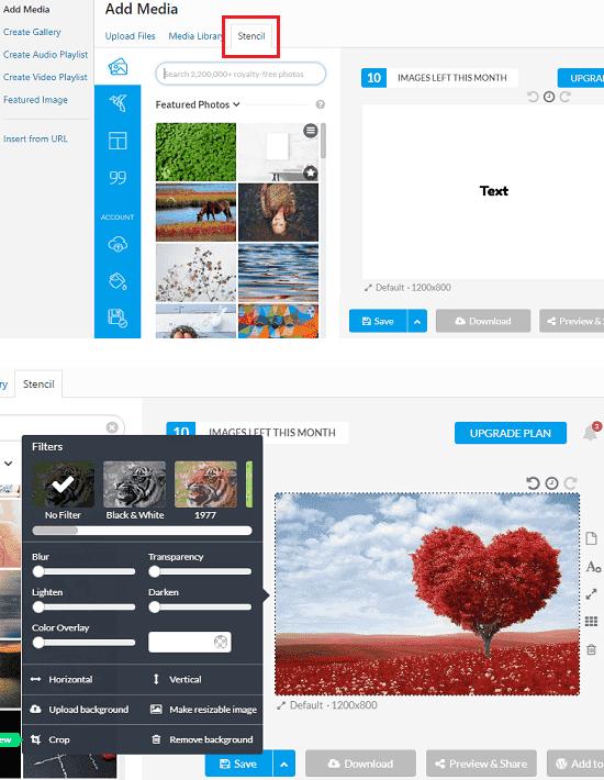 Stencil interface on WordPress