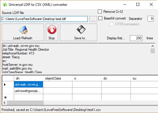 Universal LDIF to CSV Converter