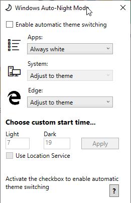 Windows Auto-Night Mode- interface