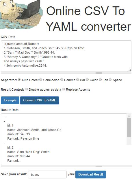 becsv free online csv to yaml converter