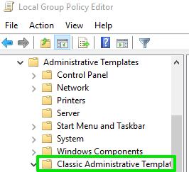 classic administrative templates