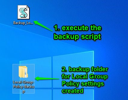 create backup for local group policy settings
