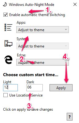 enable automatic theme switching option and set time