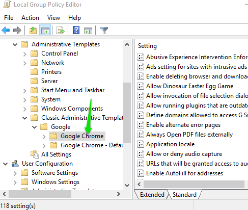 google chrome folder and settings visible