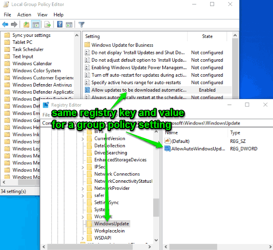 same registry key and a value for a group policy setting visible