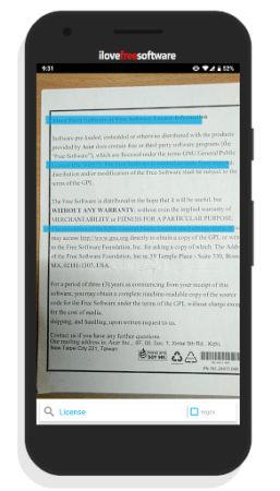 use camera to search words on printed document